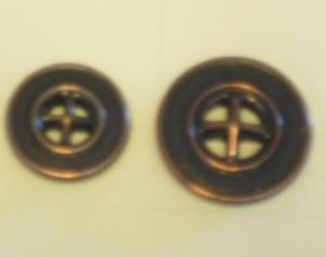 Metallknapp 4-hål Kopparoxid